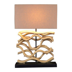 beach house - Add a touch of grace to your room with this Medium sculptured table lamp, Scandinavian Designed that provides high quality craftsmanship that is truly magnificent, made of bleached sculpted  wood with a coarse shade to complement it