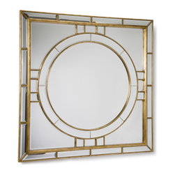 Kathy Kuo Home - Darwell Hollywood Gold Leaf Square Beveled Mirror - Juxtapositions are among the best things in life - kettle corn, a mean looking dog that likes to be held, and of course, this mirror. The circular inner shape provides ample curves to balance out the geometric design of the mirror itself. The gold leaf details add a regal yet classic touch.