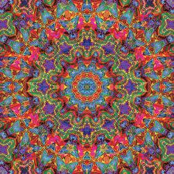 My Wonderful Walls - Kaleidoscope Wall Art Sticker Decal - Cautiously Spring by Lyle Hatch, Small - Product:  wall decal sticker of colorful kaleidoscope art