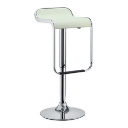 LexMod - LEM Piston Style Vinyl Bar Stool in White - The LEM Style Bar Stool has sleek lines that would be equally impressive in a restaurant or at home. Perfect for entertaining guests at restaurants, your home bar, or for stylish seating around the kitchen counter.
