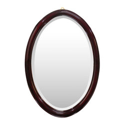 China Furniture and Arts - Rosewood Ming Style Oval Mirror - An oval mirror framed in beautiful rosewood. Simple, sleek and slender, a product of typical Ming style design. Hand applied dark cherry finish. Bevel mirror. (Brass hanger included.)