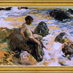 """Joaquin Sorolla Y Bastida-16""""x24"""" Framed Canvas - 16"""" x 24"""" Joaquin Sorolla Y Bastida Boy in Sea Foam framed premium canvas print reproduced to meet museum quality standards. Our museum quality canvas prints are produced using high-precision print technology for a more accurate reproduction printed on high quality canvas with fade-resistant, archival inks. Our progressive business model allows us to offer works of art to you at the best wholesale pricing, significantly less than art gallery prices, affordable to all. This artwork is hand stretched onto wooden stretcher bars, then mounted into our 3"""" wide gold finish frame with black panel by one of our expert framers. Our framed canvas print comes with hardware, ready to hang on your wall.  We present a comprehensive collection of exceptional canvas art reproductions by Joaquin Sorolla Y Bastida."""