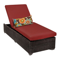 TKC - Rustico Chaise Outdoor Wicker Patio Furniture 2 for 1 Cover Set - The Rustico wicker chaise lounge is available in a unique Chestnut Brown colored full round resin weave over heavy duty rust-resistant powder coated aluminum frame