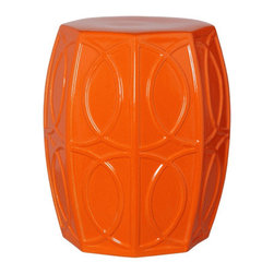 Bright Orange Treillage Garden Stool - This beautiful eight-sided garden stool features a high-gloss bright orange glazed finish on a treillage pattern.