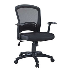 Modway - Pulse Office Chair in Black - Drive onward in your office tasks with this upright and ergonomic mesh office chair. Let the breathable mesh back and plush fabric cushion seat serve as a simple extension to your everyday home and business ventures. Pulse includes a passive lumbar support and two sturdy armrests to help keep your posture vertical and potent. Fitted with five hooded dual-caster wheels, give yourself the ability to easily glide over carpeted floors while correctly guessing your next destination.