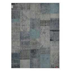 Pasargad - Pasargad Vintage Persian Patchwork Area Rug (Light Blue, Dark Blue, Grey) - Patchwork rugs are handmade from fragments of original and oriental rugs. Bleached in the sun, these rugs are precisely crafted and over-dyed in charming used-looked colors in historical and unique designs.