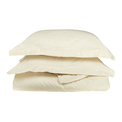 """500 Thread Count Cotton Duvet Cover Set - King/California King - Ivory - These 500 thread count duvet cover sets are made of premium quality cotton and built to last. They offer long lasting comfort and are a great value for the price. Each set includes a duvet cover: 106""""x92"""" and two pillow shams: 20""""x36""""."""