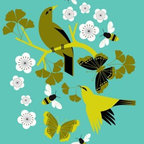 "Mid-Century Modern Art Illustrations by Eleanor Grosch - Eleanor Grosch's ""Gingko Buzz"" in sizes 10x14 and 18x24. See more of Eleanor's Gingko and Bird Themed Artwork for the Home on our website to create a dramatic art grouping focal point in your room."