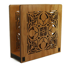 """Lightwave Laser - Frank Lloyd Wright Nathan Moore House Napkin or Letter Holder - Perfect for dinner napkins or to hold the day's mail. The Frank Lloyd Wright design of this laser-cut wood holder in cherry finish is adapted from a a wooden door whose carved organic motifs let light pass from the first floor entry hall to the kitchen in the Nathan Moore House (Oak Park, Illinois, 1895). Dimensions: 6"""" wide x 6"""" tall x 2.5"""" deep."""