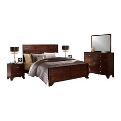Baxton Studio - Baxton Studio Tichenor King 5 Piece Wooden Modern Bedroom Set - Beautiful natural wood with a rich finish makes our Tichenor Designer Bedroom Set shine as the starring feature of your bedroom. Five coordinating pieces are included with purchase: 1 king-sized bed, 1 eight-drawer dresser, 1 mirror (attaches to the dresser), and 2 two-drawer nightstands. Each piece is crafted in China with dark brown cherry-finished wood with elegant carved detailing on select panels. The bed requires a mattress and box spring, neither of which is included with purchase. To maintain the beauty and shine of the Tichenor Bedroom Collection, dust with a dry cloth. Assembly is required.