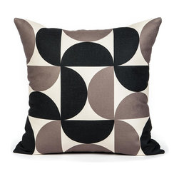"LaCozi - ""A-Pex"" Cream & Black Half Circle Pillow - Spheres of influence: One or two of these graphic pillows can easily set the tone for an entire room, or play a more supportive role to the surrounding decor at hand. Either way, they'll make a stunning statement on your living room sofa or bedroom chair."