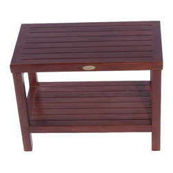 "24"" Teak Spa Shower Bench with Shelf - This teak shower stool is perfect for use in a high water environment such as a shower or wetroom. Its stylish design and high level craftsman ship also make it suitable for other rooms such as a mudroom or hallway. Built from sustainably sourced Indonesian teak wood, as long as this is treated occasionally, there is no reason it can't last a lifetime and is guaranteed for 5 years."