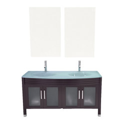 Regent Glass Double Sink Modern Bathroom Vanity Cabinet