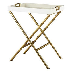 Robert Abbey - Robert Abbey 659 Jonathan Adler Meurice Side Table in Antique Brass 659 - Jonathan Adler Meurice Side Table.Base: X Cross Legs Collection: Jonathan Adler Meurice Design: Table Features: Tray Top Finish: Antique Brass Frame Material: Metal Height: 30-1 4 Origin: China Shape: Rectangle Style: Transitional Top Material: Wood Tray color: White Lacquer