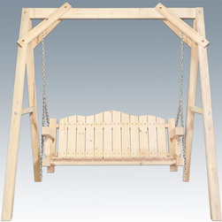 Montana Woodworks - Lawn Swing with A-Frame - Heirloom quality. Rustic timber frame design. Made from solid U.S. grown wood. Made in USA. Minimal assembly required. 88 in. L x 75 in. W x 77 in. H (170 lbs.). Warranty. Ready to Finish. Use and Care InstructionsImagine the rustic beauty of this lawn swing gracing your yard, deck or lawn. Swing away the tensions of your day while enjoying the elegance of rustic lawn furniture. This lawn swing is designed to last for generations.
