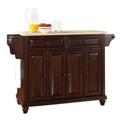 Crosley Furniture - Crosley Furniture Cambridge Natural Wood Top Mahogany Kitchen Island - Crosley Furniture - Kitchen Carts - KF30001DMA - Constructed of solid hardwood and wood veneers this kitchen island is designed for longevity. The beautiful raised panel doors and drawer fronts provide the ultimate in style to dress up your kitchen. Two deep drawers are great for anything from utensils to storage containers. Behind the four doors you will find adjustable shelves and an abundance of storage space for things that you prefer to be out of sight. Style function and quality make this kitchen island a wise addition to your home.