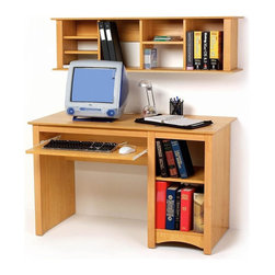 Prepac - Entryway & Home Computer Desk and Wall-Mount - * Includes desk and wall mounted hutch. Warranty: Five years. Made from CARB-compliant, laminated composite woods . Made in North America. Assembly required. Desk:. Roll-out keyboard tray. Adjustable shelf and bottom compartment. Side opening: 9.75 in. W x 20.5 in. D x 22 in. H. Overall: 48 in. W x 23.5 in. D x 29 in. H. Hutch:. Two-piece hanging rail system. Adjustable four shelves. Cubbie: 9.75 in. W x 9.75 in. D x 12.25 in. H. Overall:  48 in. W x 11.5 in. D x 13 in. HCoordinate with matching wall mounted desk hutch. Every office needs a computer desk, so why compromise on value or features? Store your computer tower, freeing up your workspace. Additional space for books, office supplies and anything else you need on-hand. Solidly designed with minimalist lines, this desk fits both your decor and your budget.