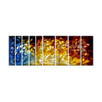 Pure Art - Dynamic Tree Line Modern Art Set of 9 - A huge, 9-panel wall art, this piece features grouping of slender trunked trees in the foreground. But energy, color and movement are everywhere as a result of the expert use of color and contrast behind their wispy forms. From the colors that range from the darkness of night to the light of day, the artwork evokes the energy of the passage of time.Made with top grade aluminum material and handcrafted with the use of special colors, it is a very appealing piece that sticks out with its genuine glow. Easy to hang and clean.