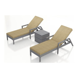 Forever Patio - Urbana 3 Piece Weathered Stone Chaise Lounge Set, Heather Beige Cushions - The Harmonia Living Urbana 3 Piece Rattan Patio Chaise Lounge Set with Tan Sunbrella cushions (SKU HL-URBN-WS-3RCLS-HB) brings comfort and style to your outdoor space. Each chaise is constructed with durable, thick-gauged aluminum frames which are protected by a powder coating for superior corrosion resistance. The wicker is made of High-Density Polyethylene (HDPE) with its Weathered Stone color and UV resistance infused into the strands themselves. This creates a rich wicker color that holds up incredibly well with age.Thick, comfy cushions are covered in Canvas Heather Beige fabric by Sunbrella, the industry leader in mildew- and fade-resistant outdoor fabric. This chaise adheres to the highest quality standards for modern patio furniture in the market today, meaning it will last for years to come.