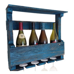 (del)Hutson Designs - The Original Wine Rack, Turquoise - This item is salvaged from %100 reclaimed wood. Anything can be reusable and functional with the right kind of hands or creative eye, behind the making!