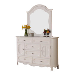 Homelegance - Homelegance Hayley 6 Drawer Kids' Dresser with Mirror in White - Country styling lends itself beautifully to the Hayley collection. Slat paneling is framed on the sleigh headboard and footboard and features an elegant medallion accent on each side. The white finish gives the collection a fresh look perfect for a child's or guest bedroom.