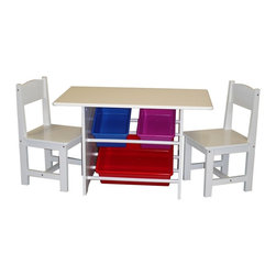 "Sourcing Solutions, Inc. - Kids Table with 2 Chairs and 3 Plastic Storage Bins - RiverRidge® Kids innovative Kids Table with two matching chairs. Includes one large storage bin and two small storage bins.  Plastic Storage Bins works well as a play or activity table and features wooden slats beneath the tabletop.  Three included bright storage bins rest conveniently below the table.  Supplies and toys stay neatly in place!  Includes 2 wooden chairs, painted white to match the table.  Assembled size of the table is 31.5""W x 18.125""D x19.875""H, 20.2 lbs.  Assembled chairs measure 11.875""W x 11.875""D x 22""H, 5.6 lbs.  Large bin is 16.25""W x 11.875""D x 4.875""H; Small bins are 11.87""W x 11.875""D x 4.875""H.  Table and chairs are made of painted MDF wood composite and solid wood. Simple to assemble!"