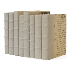 Go Home - Go Home Linear Foot of Recycled Canvas Books - Define a unique style statement of yours in front of visitors with these Hip Vintage Canvas Books. This elegant set of books will give your space a literary feel while enhancing the beauty of room decor. Give your table tops a completely fresh look with a different styling. These books can add a rustic charm to your study with their antique look. These set of books are perfect to go with the conventional as well as modern home decor. Especially the people who love to make collection of antiques, the investment in these canvas books can be a smart one.