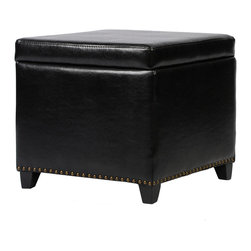 Armen Living - Kenya Bonded Leather Brown Ottoman - Rest a tray of  cocktails or stow blankets and throws inside this stylish  storage ottoman.  Accented with antique nails and wrapped in a harmony of plush antique bonded leather and jute fabric for lasting appeal.