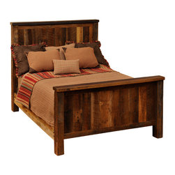 "Fireside Lodge - Fireside Lodge Traditional Reclaimed Barnwood Bed, Queen Size - Reclaimed Barnwood Bed - Queen Size. You've  been  shopping  for  the  perfect  reclaimed  barnwood  bed  for  a  long  time,  and  this  traditional  style  rustic  barnwood  bed  just  might  be  the  thing  you've  been  searching  for.  Simple,  rustic,  understated,  and  stylish,  this  no-nonsense  design  features  a  headboard  and  footboard  handcrafted  with  natural  red  oak  barnwood  planks  salvaged  from  a  barn  built  sometime  in  the  1800's.  Each  plank  is  carefully  color-matched  and  placed  so  that  the  side-by-side  boardwalk  look  will  offer  a  variety  of  neutral  hues  and  color  tones.  Framed  with  sturdy  oak  post  legs,  this  bed  has  a  dull  catalyzed  lacquer  finish.  Extra  durable,  the  lacquer  will  help  protect  your  bed  for  generations.  Made  from  a  totally  recycled  resource,  this  is  the  ultimate  eco-friendly  rustic  bed.          For  additional  under-bed  storage,  consider  adding  an  underbed  dresser  with  drawers.                  Dimensions  vary  according  to  size.  (See  chart  below)              Sturdy  hardwood  rails              T-support  to  help  distribute  weight  evenly  is  standard  in  King  and  Queen  sizes              Headboard:  60  inches  high              Footboard:  35  inches  high              Limited  lifetime  guarantee              Choose  from  antique  oak  or  vintage  cedar  finish  stain  colors              This  barnwood  bed  is  available  as  a  complete  bed,  a  platform  bed,  or  headboard  only              Free  curbside  shipping  in  lower  48  states.  Upgraded  shipping  available.                                  Complete  Standard  Reclaimed  Barnwood  Bed                                    Size                      Model                      Dimensions                      Weight                      Price                                      King                      B10010                      83Wx91Lx60H                      290                      1669.00                                      California  King                      B10010-CK                      77Wx96Lx60H                      490                      2149.00                                      Queen                      B10040                      65Wx91Lx61H                      255                      1439.00                                      Full  (Double)                      B10070                      59Wx86Lx60H                      225                      1379.00                                      Twin  (Single)                      B10100                      44Wx86Lx60H                      185                      1319.00                                               Complete  Platform  Bed  -  (mattress  rests  on  a  raised  barnwood  platform  -  no  footboard)                                    Size                      Model                      Dimenisons                      Weight                      Price                                      King                      B10010-PF                      83Wx89Lx53H                      490                      2149.00                                      California  King                      B10010-CK-PF                      77Wx94Lx55H                      495                      2149.00                                      Queen                      B10040-PF                      65Wx89Lx53H                      425                      1959.00                                      Full  (Double)                      B10070-PF                      59Wx84Lx53H                      375                      1879.00                                      Twin  (Single)                      B10100-PF                      44Wx84Lx53H                      315                      1769.00                                               Headboard  Only  (Includes  Rails)                                    Size                      Model                      Dimensions                      Weight                      Price                                      King  Headboard                      B10020                      83""Wx60H                      175                      919.00                                      California  King  Headboard                      B10020-CK                      77""Wx60H                      180                      919.00                                      Queen  Headboard                      B10050                      65""Wx60H                      160                      789.00                                      Full  (Double)  Headboard                      B10080                      59""Wx60""H                      145                      759.00                                      Twin  (Single)  Headboard                      B1011                      44Wx60H                      125                      719.00"