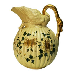 None visible - Consigned Swan Shaped Aesthetic Movement Large Ceramic Painted Water Jug - An imposing and rare Aesthetic Movement porcelain water jug shaped in the form of a Japanese lantern crowned with a swan figure, its neck forming the handle, with rib molded body and painted and gilded decoration, Antique English Victorian, circa 1875. Unusual and functional home decoration.This is an antique One of a Kind item. Some wear and imperfections are to be expected, as described.
