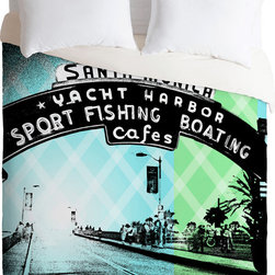 DENY Designs - DENY Designs Amy Smith Santa Monica California Duvet Cover - Going coastal. Forty winks look fabulous with the Amy Smith Santa Monica California Duvet Cover from DENY Designs. Boasting an image of the Santa Monica pier, this artist-designed piece was custom-created using a six-color printing technique that directly dyes the buttery-soft woven front. A cozy cotton-blend on the backside was created for cuddling. Its graphic elements pair perfectly with more modern accents.Pillowcases not includedAvailable in multiple sizesZip closureInterior corner tiesCustom printed for every orderWoven polyester front / cotton-polyester backMachine washableDesigned by Amy SmithMade in the USAShips in 1 week