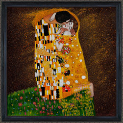 overstockArt.com - Klimt - The Kiss (Full view) Oil Painting Oil Painting - An amazing Reproduction of Klimt's the Kiss in its original square format! Hand painted oil reproduction of a famous Klimt painting, The Kiss Full view. The original masterpiece was created in 1907-08. Today it has been carefully recreated detail-by-detail, color-by-color to near perfection. Gustav Klimt, the Vienna master painted the Kiss oil painting in 1907. The painting depicts a couple surrounded by a gold blanket and ornaments sharing a moment of sheer passion - the perfect kiss. In the oil and gold masterpiece, the man appears standing as he holds in his arms the kneeling woman. The two seem to be positioned on a flower field, kissing, totally engaged with one another. The woman seems to be following the lead of her partner, but is not taking an active part. The patterns of the man are mostly black and white rectangles, while the woman is engulfed in flowers. The identity of the people depicted in this oil painting is not exactly clear; some suggest that it is Klimt himself and his beloved partner, Emilie Floge. However, that is sheer speculation as Klimt made it a point never to paint himself. Gustav Klimt (1862-1918) was one of the most innovative and controversial artists of the early twentieth century. Influenced by European avant-garde movements represented in the annual Secession exhibitions, Klimt's mature style combines richly decorative surface patterning with complex symbolism and allegory, often with overtly erotic content. This work of art has the same emotions and beauty as the original. Why not grace your home with this reproduced masterpiece? It is sure to bring many admirers!