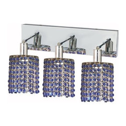 "PWG Lighting / Lighting By Pecaso - Wiatt 3-Light 14.5"" Crystal Vanity Fixture 1091W-O-R-SA-SS - Whether shown individually or as a collection, our Mini Crystal Chandeliers are stunning in any fashion. This stylish collection offers stunning crystal in a range of colorful options to suit every decor."