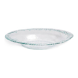 Danya B - Artisan Recycled Glass Oval Bowl - This Danya B. recycled glass dish with rippled edges has a hint of green for serving any meal with eco-style and sophistication. This platter is ideal for pasta, rice, vegetables or as a centerpiece or fruit bowl.