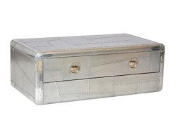 SeventhStaRetail - Aviator Aluminum Coffee Table with 2 drawer - Aviator Coffee Table with 2 drawer