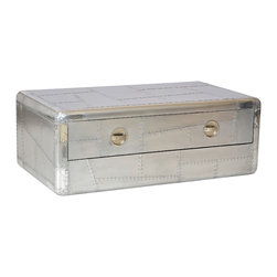 SeventhStaRetail - Aviator Aluminum Coffee Table with 2 drawer - Aviator Coffee Table with 2 drawer