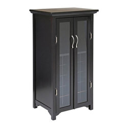 Winsome - Winsome 20 Bottle Wine Cabinet with French Doors in Espresso - Winsome - Wine Racks - 92722 - High end materials and design at a discount price! Get one while they last! The Winsome Espresso Wine Cabinet with 2 Glass Doors is classy and chic and will fit into any decor. Made of durable wood with a gorgeous espresso finish the Winsome Espresso Wine Cabinet has two charming glass doors to show of the features of the compartments inside. Perfect for a modern environment.