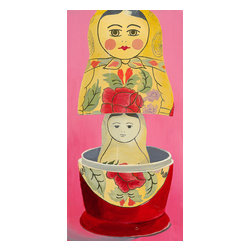 """Emma at Home - Matryoshka Mother-daughter Canvas, 10"""" x 20"""" - Every home deserves some meaningful art. This clever take on the classic mother and child theme is a beautiful nod to Russian traditions. The canvas would make a bold statement in an entryway or paired side by side with another canvas by the same artist."""