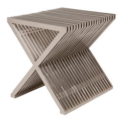X End Table Stool - This brushed stainless steel table/stool delivers a cutting edge modern style. Sturdy and versatile for any space in your home, patio, office or business.