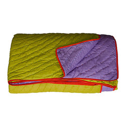KOKO - Twin Coverlet, Reversible, Lime/Purple - Even if you're typically a white bed set kind of sleeper, this unique color combination just might have you intrigued. Go the easy route and use it for a kid's room, or get brazen and fold one up at the foot of a grown-up bed.