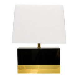 Worlds away - Lacquer Foley Black and Brass Table Lamp - Worlds Away Foley Black and Brass Table Lamp