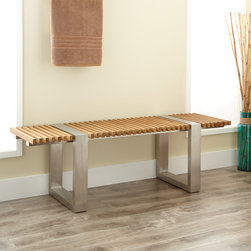 Gaffney Teak and Stainless Steel Bench - Add a spot for relaxing in your master bath or on your patio with the Gaffney Teak and Stainless Steel Bench.