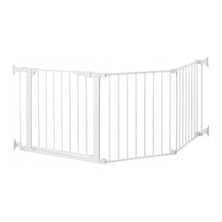 """KidCo - Auto Close ConfigureGate / Play Area - White - A unique safety gate solution for the odd-shaped space, irregular area, or a wide opening that does not have mounting points straight across. The new KidCo Auto Close ConfigureGate is the only """"build your own"""" baby gate system. Comes with three 31"""" high interlocking sections in a total width of 84"""". All joints easily rotate and lock, or set in a straight line as needed. Included in the three piece basic set is a 23"""" wide auto close door section that opens easily in either direction with a one hand adult release. Door can be placed anywhere in layout. Door is equipped with a simple to use hold-open button. Wall mounted for safety, the ConfigureGate is constructed of strong tubular steel with white non-toxic coating that is warm to the touch and easy to clean. Add optional extensions for more width."""