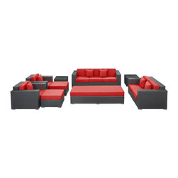 Modway Furniture - Modway Eclipse 9 Piece Sofa Set in Espresso Red - 9 Piece Sofa Set in Espresso Red belongs to Eclipse Collection by Modway Achieve cosmic aptitude with this empirically abundant outdoor living set. Discover more than the eye can see with Eclipse's radiant red all-weather cushions and espresso rattan base. Leave an impression on your surrounding and contemplate the incredible as you triumph on the pathway to new perspectives. Set Includes: One - Eclipse Outdoor Wicker Patio Coffee Table One - Eclipse Outdoor Wicker Patio Coffee Table Cushion One - Eclipse Outdoor Wicker Patio Loveseat One - Eclipse Outdoor Wicker Patio Sofa Two - Eclipse Outdoor Wicker Patio Armchairs Two - Eclipse Outdoor Wicker Patio Ottomans Two - Eclipse Outdoor Wicker Patio Side Tables Coffee Table (1), Loveseat (1), Sofa (1), Armchair (2), Ottoman (2), Side Table (2)