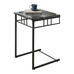 Monarch Specialties - Monarch Specialties 3063 Square Snack Table in Grey Marble and Charcoal - What a convenient way to eat or drink on your couch! This classic grey marble-look snack table has sufficient space for you to place your snacks, drinks and even meals. Its charcoal colored metal base provides sturdy support along with an elegant touch that will suit any decor.