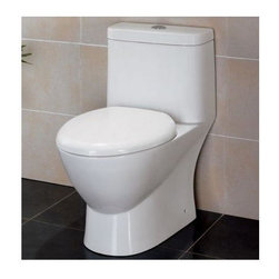 Eago - Modern Dual Flush One Piece Eco-Friendly Cera - Dual Flush 1.6 gpf & 0.8 gpf. Dimensions: 28in. x 15 1/8in. x 28in.. One Piece Toilet. European design. Siphonic Flush System. New tower based mechanism; No chain, no flapper. Fully Glazed inside & out. Soft Closing Toilet Seat, Lid & wax ring included. Powerful & efficient 3in. flushing valve. Wide water surface allows for easy cleaning. Balanced water distribution. EAGO Eco-Friendly Dual Flush One Piece Toilets. ManualThe Future of American Toilets. Ultra Low Flush (ULF) Eco-Friendly 1.6 Gallon flush. The Most Advanced Flushing System. Only One Flush. This environmentally friendly toilet will save a family of four an average of 10,000 gallons of water per year! Never be startled again by the loud crash of a slamming toilet seat. The soft drop seat has an innovative hinge system that will gently guide the toilet seat down with out a sound.
