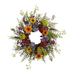 Nearly Natural - Spring Garden Wreath - Includes twig base. Stunning floral mix. Multi and green color. 24 in. Dia. x 1 in. DSay hello to Spring sunshine, no matter what time of year it is. This pretty Garden Wreath takes everything we love about spring, and wraps it into a never-ending circle of colorful sunshine! With a vast array of springtime blooms, sprigs, and twiggy base, it looks so real even the bees will be fooled! Makes an ideal home or office decoration, and a fine gift as well.