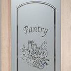 "Pantry Doors - Frosted Glass Designs YOU Customize! - CUSTOMIZE YOUR GLASS PANTRY DOOR!  Pantry Doors shipping is just $99 to most states, $159 to some East coast regions, custom packed and fully insured with a 1-4 day transit time.  Available any size, as pantry door glass insert only or pre-installed in a door frame, with 8 wood types available.  ETA for pantry doors will vary from 3-8 weeks depending on glass & door type.........Block the view, but brighten the look with a beautiful obscure, decorative glass pantry door by Sans Soucie!   Select from dozens of frosted glass designs, borders and letter styles!   Sans Soucie creates their pantry door obscure glass designs thru sandblasting the glass in different ways which create not only different effects, but different levels in price.  Choose from the highest quality and largest selection of frosted glass pantry doors available anywhere!   The ""same design, done different"" - with no limit to design, there's something for every decor, regardless of style.  Inside our fun, easy to use online Glass and Door Designer at sanssoucie.com, you'll get instant pricing on everything as YOU customize your door and the glass, just the way YOU want it, to compliment and coordinate with your decor.  When you're all finished designing, you can place your order right there online!  Glass and doors ship worldwide, custom packed in-house, fully insured via UPS Freight.   Glass is sandblast frosted or etched and pantry door designs are available in 3 effects:   Solid frost, 2D surface etched or 3D carved. Visit or site to learn more!"