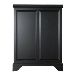 """Crosley Furniture - LaFayette Bar Cabinet in Black - Beautiful Raised Panel Doors. Brushed Nickel Hardware. Plenty of Room for Storing Barware & Spirits. Each wine glass slot will hold 3 average size wine glasses.. Doubles as a Serving Station when Entertaining. Adjustable Levelers in Legs. Expands to 62 1/2"""" Wide when Open. Solid Hardwood & Veneer Construction. Front & back of bar have matching finish. 42in. H x 31.25in. W x 22in. D (150 lbs)Constructed of solid hardwood and wood veneers, this Expandable Bar Cabinet is designed for longevity. The beautiful raised panel doors provide the ultimate in style to dress up your home. The doors open and top folds out to double the size of your entertaining / serving area. Inside the doors, you will find plentiful storage space for spirits, glassware, and a host of other bar items. The center cabinet features 16 bottle wine storage, utility drawer, hanging stemware storage, and extra space for a variety of other barware."""
