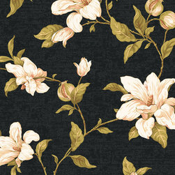 York Wallcoverings - Floral Wallpaper, Black and Green, Sample - Prepasted: Paste has already been applied to the back of the wallpaper and is activated with water.